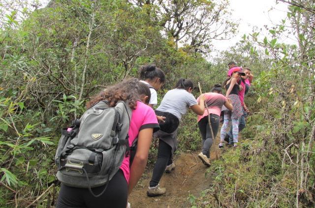 Estudantes e monitores da Escola Família Agrícola Puris do município de Araponga realizaram uma aula prática na trilha do Pico do Boné, dia 11 de outubro.