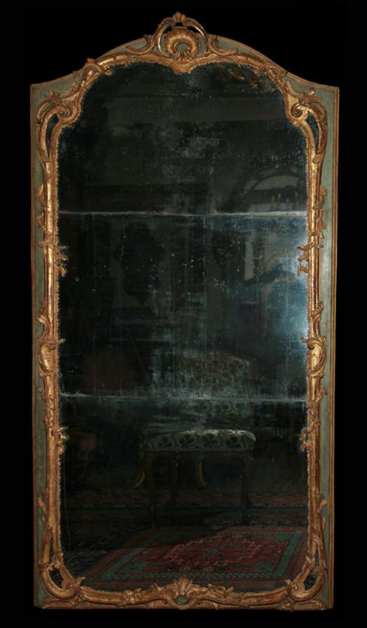 Miroir Louis XV sur fond vert