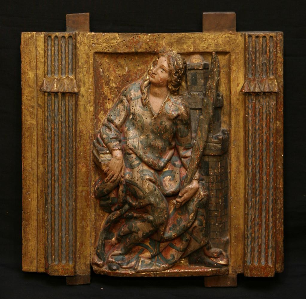 Fragment de panneau représentant Sainte Barbe