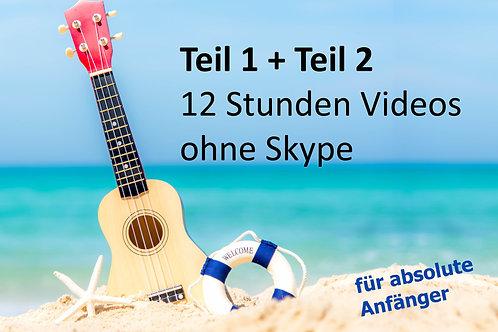 Greenhorn Onlinekurs Teil 1+2 (ohne Skype) inkl. 12 Std. Video = 38 Lieder