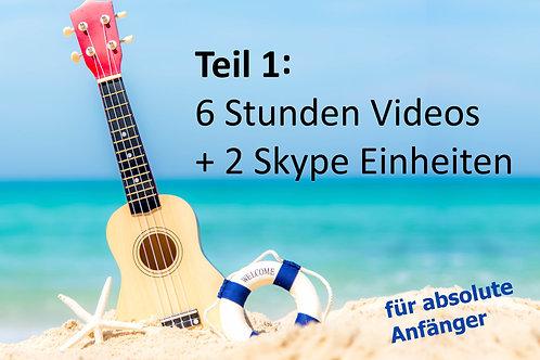 GREENHORN Onlinekurs Teil 1:  inkl. 6xVideos (je 1Std./ 22Lieder) + 2xSkype (je