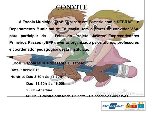 Convite para o JEPP na Escola Prof. Elizabete