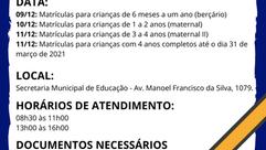 COMUNICADO MATRÍCULAS 2021