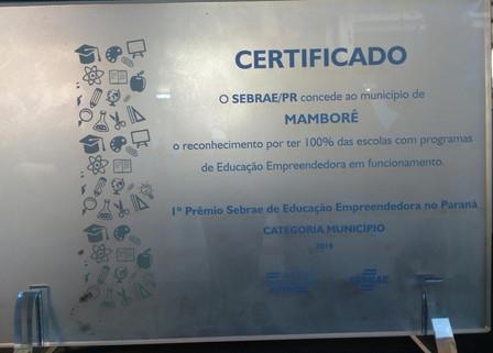 Município recebe troféu do SEBRAE por participação efetiva no projeto JEPP