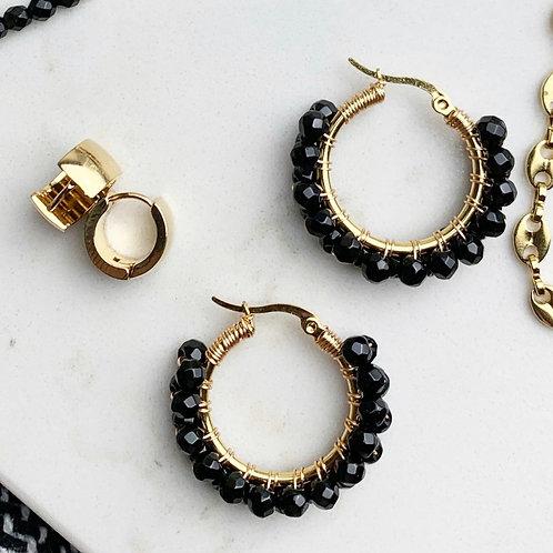 Black agate hoops