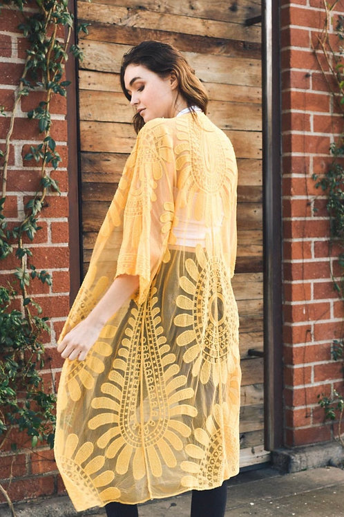 Yellow bohemian kimono