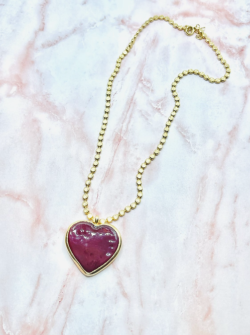Glass Red Heart necklace