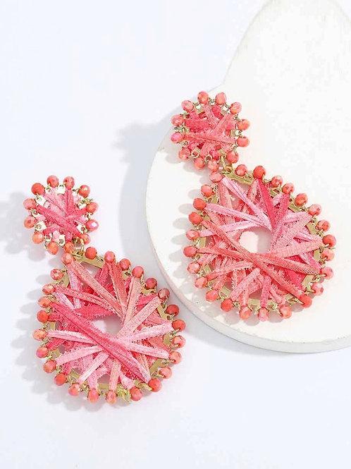 Woven coral earrings
