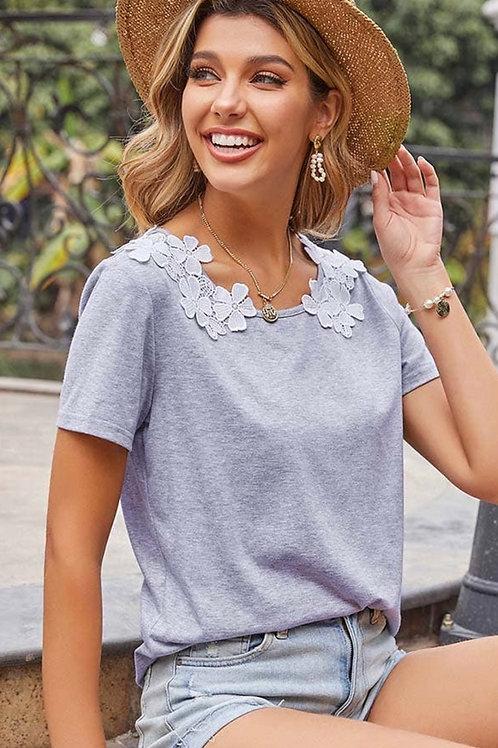 Gray lace T