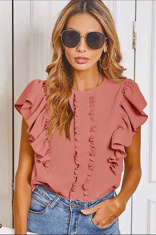 Coral ruffle blouse