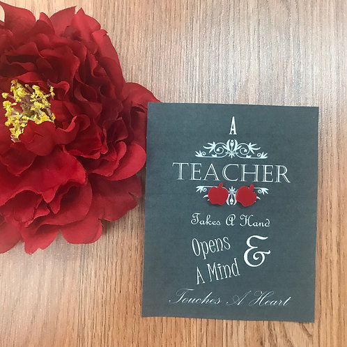 Teacher earrings with card