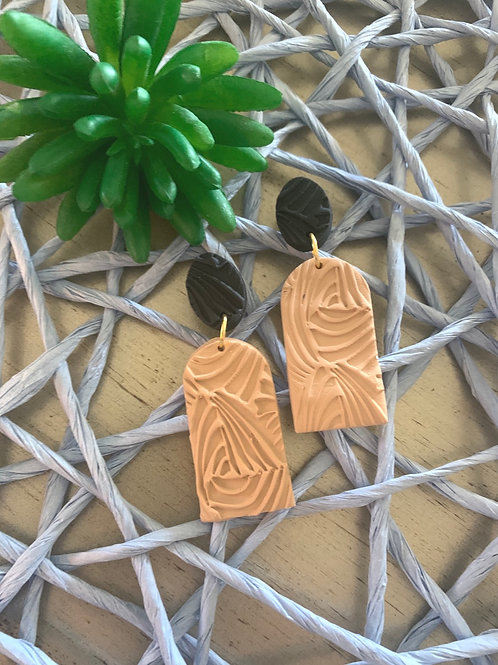 Tan art earrings