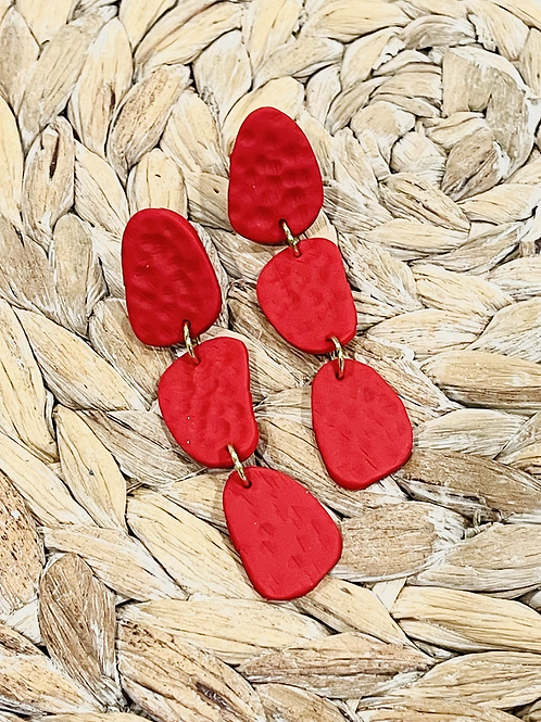 Hammered Red Earrings