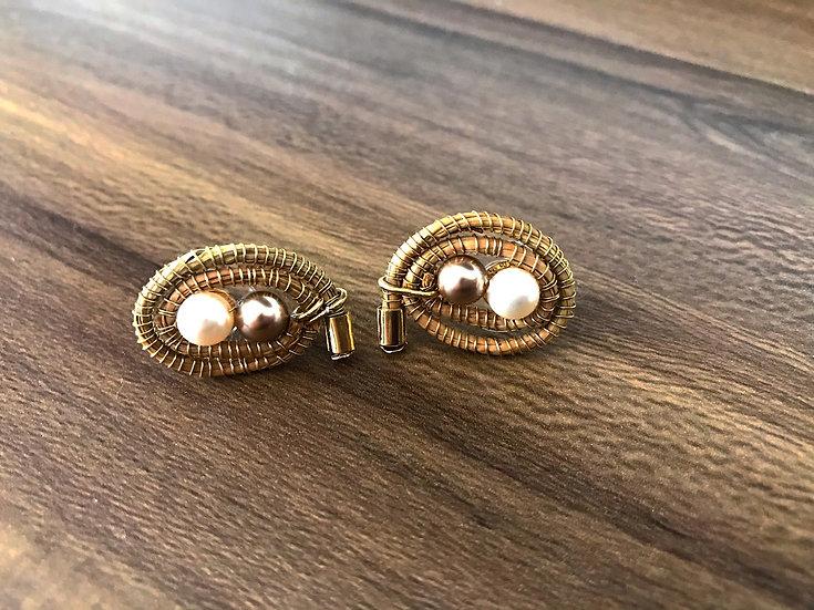 Aretes doble perla