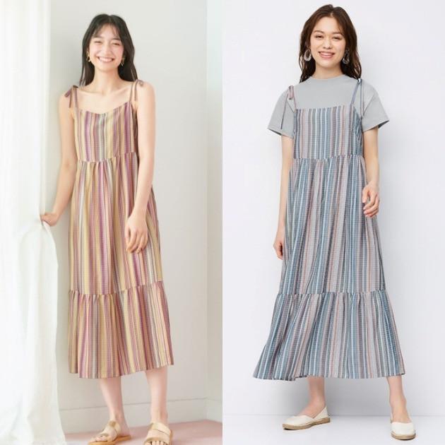 GU洋裝推薦 直條紋細肩綁帶蛋糕連身裙