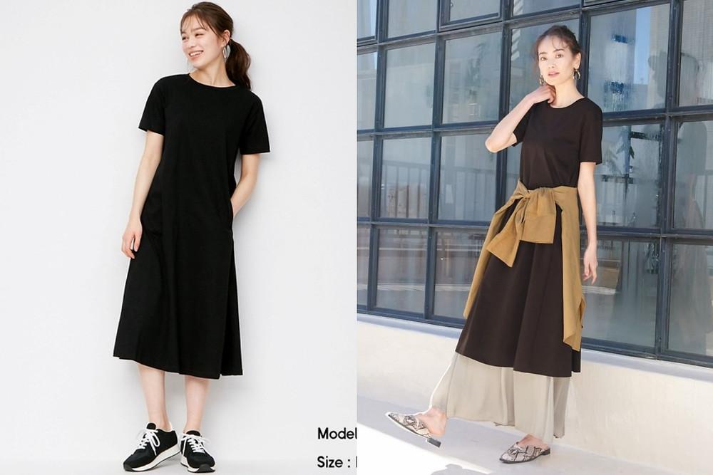GU洋裝推薦 絲光棉A-line連身裙