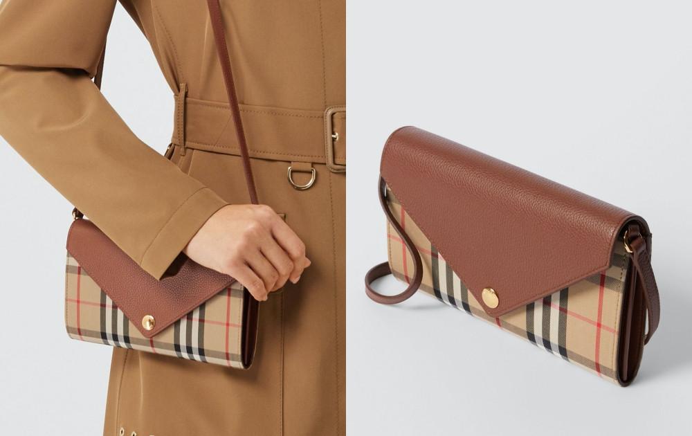 平價WOC包推薦-BURBERRY 可拆式背帶Vintage格紋皮革皮夾