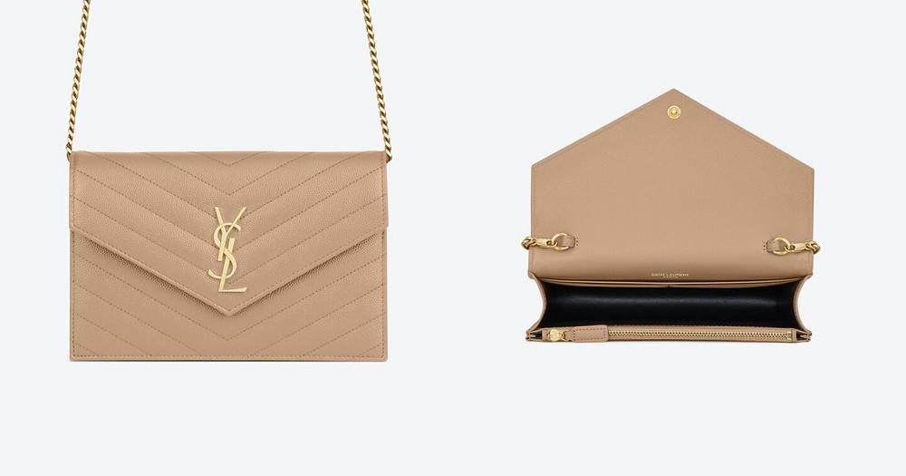 平價WOC包推薦-Saint Laurent 粒面壓紋皮革信封鍊式錢包