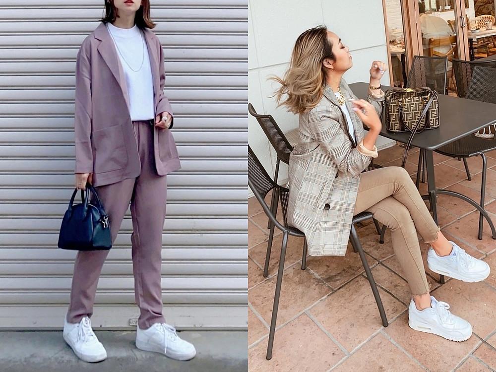 顯瘦穿搭方法(5) 同色調套裝讓白球鞋變成造型的亮點
