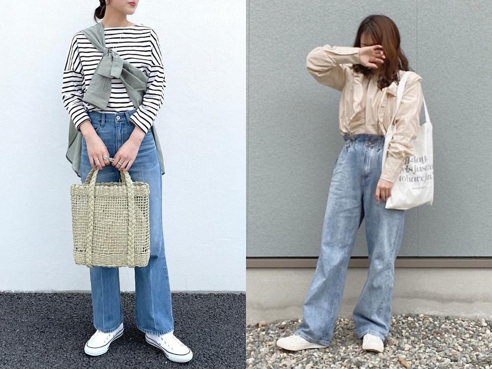 顯瘦穿搭方法(4) 全長丹寧褲搭小白鞋,腿就能看起來超長