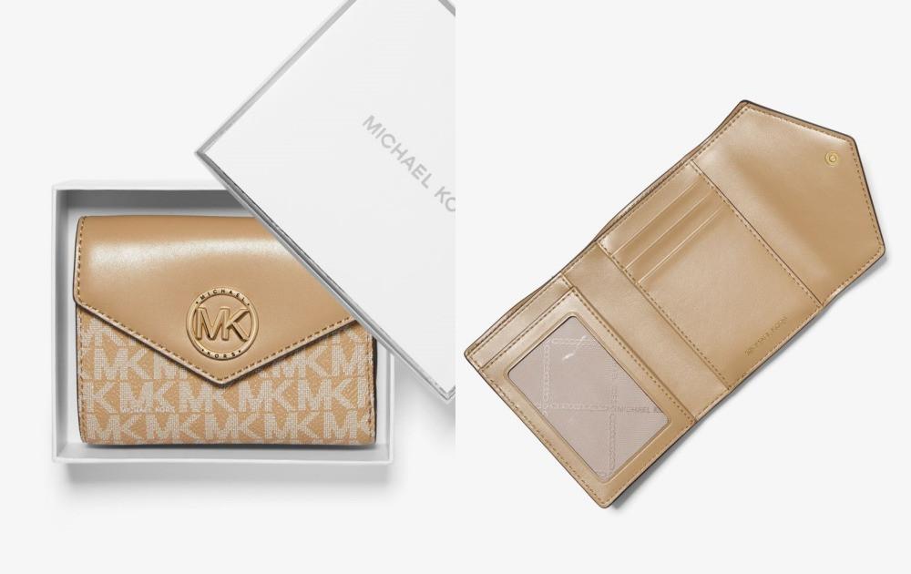 「輕奢名牌短夾」推薦,Michael Kors 三折信封式錢包