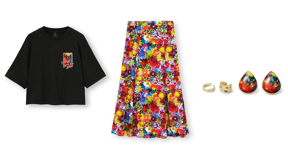 女裝短版印花T恤(5分袖)FYOS/女裝花朵印花魚尾裙FYOS/女裝飾品組FYOS+X