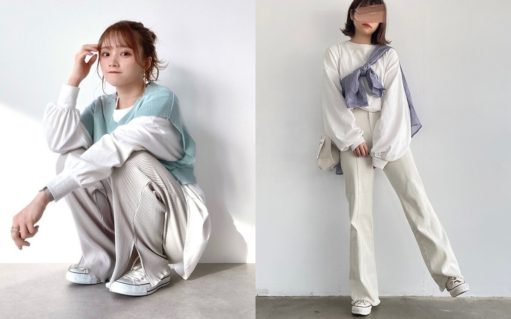 顯瘦穿搭方法(1) 全身白色加入一點顏色帶出重點