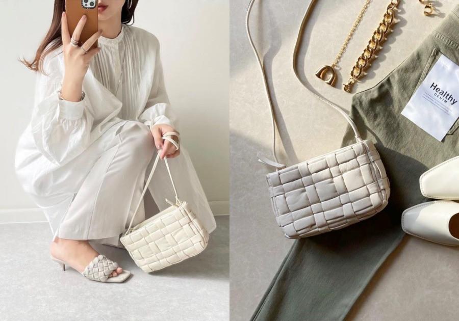 ZARA 絎縫編織真皮單肩包