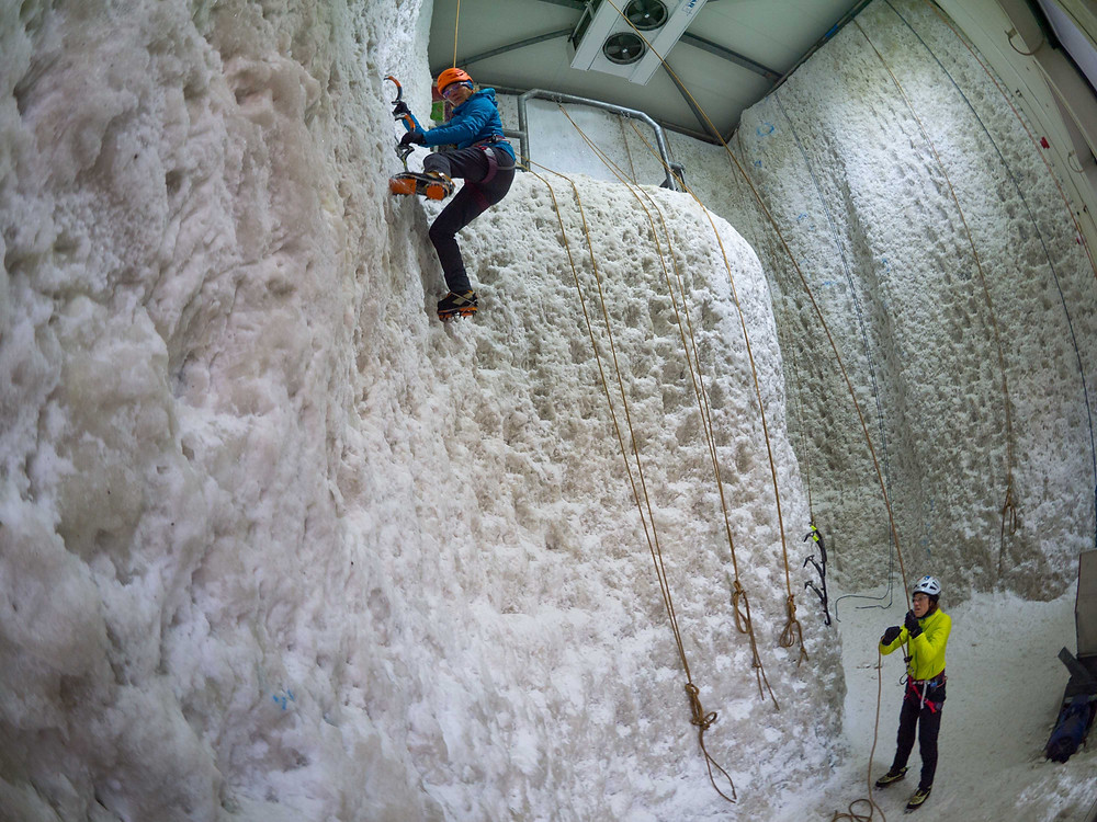 Anya and Kris at Ice Factor, Scotland's National Ice Climbing Centre