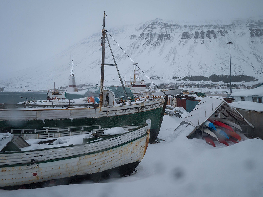 Isafjordur harbor on a typical Icelandic winter day.