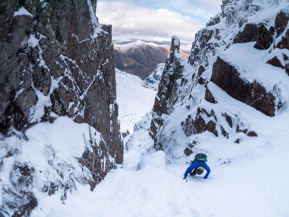 A super fun, easy snow gully at Stob Coire nan Lochan, Glencoe.