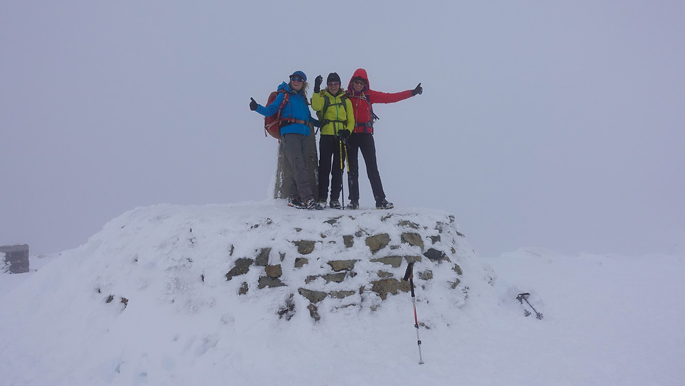 Summit, Ben Nevis (1344m).  A windless day but no visibility.