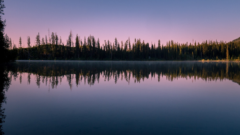An incredibly still morning on String Lake in the Tetons.