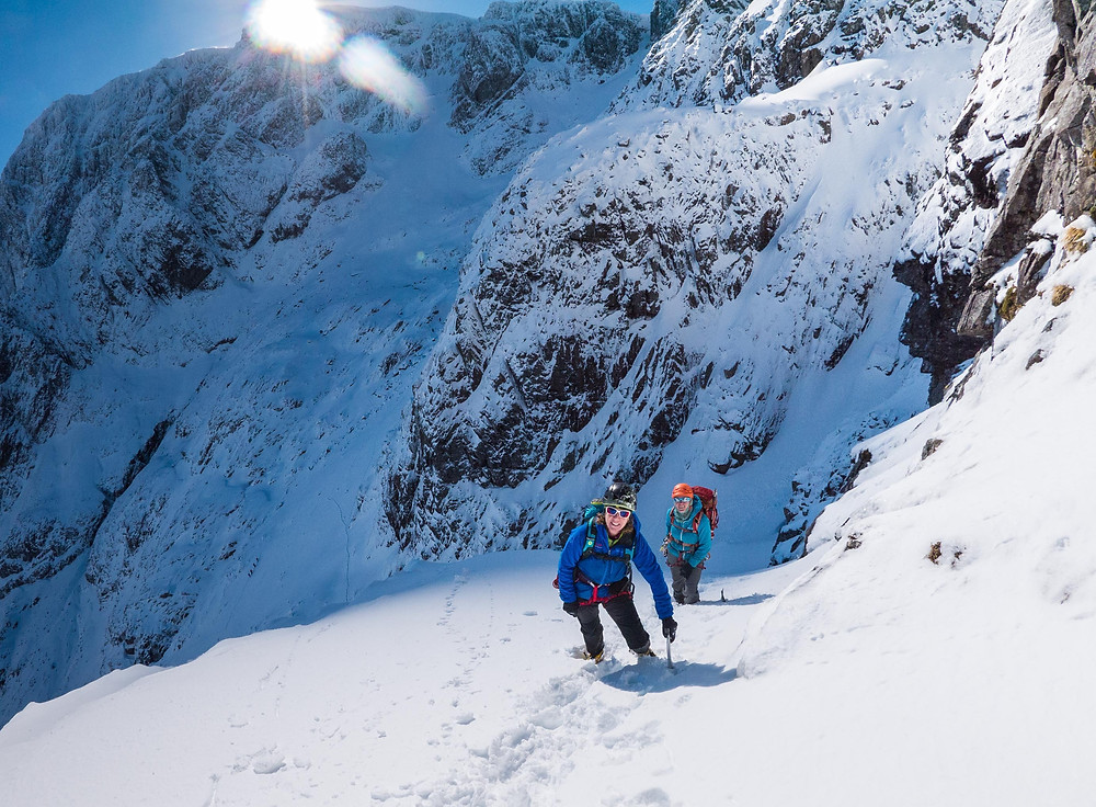 Anne and Anya at the beginning of the Ledge Route on Ben Nevis.