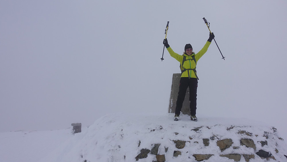 Kris on the summit of Ben Nevis.  Though she really wanted to summit via an ice route on the North Face, this was still a pretty good consolation prize.  Also, Kris is 78 years old and one of the most amazing people I know!