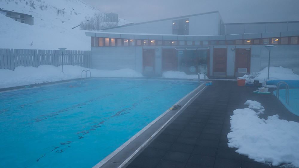 Geothermal pools in Sudeyri -- a great place to go after skiing and during storms.