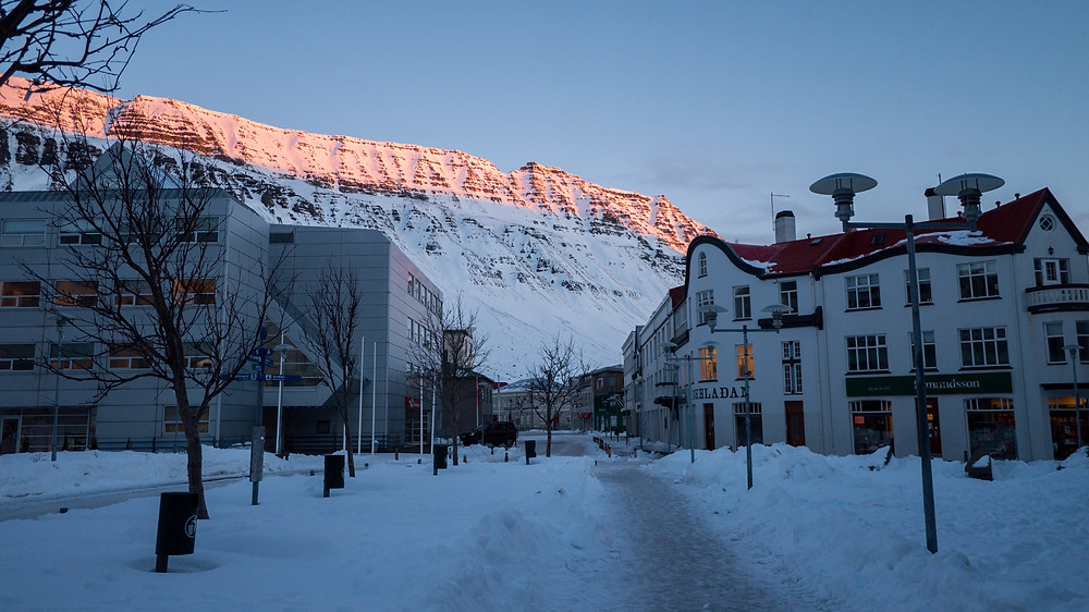 Isafjordur at sunrise.