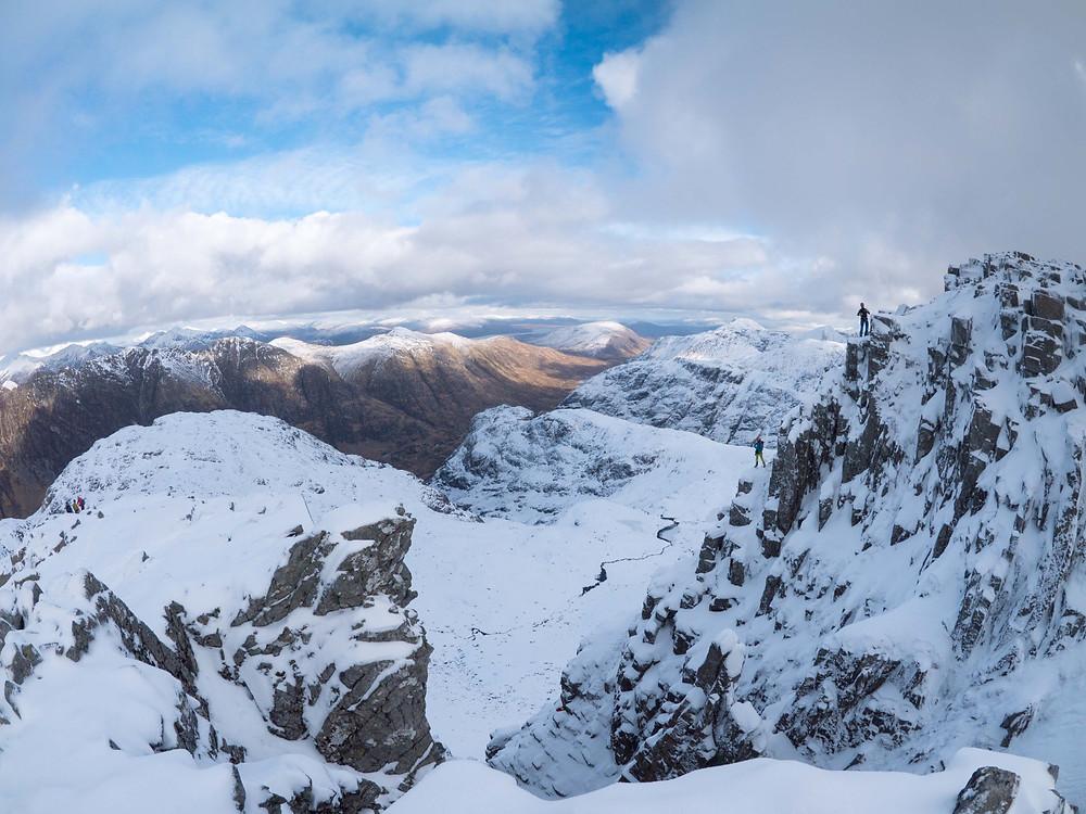 Look closely.  Climbers on Raeburn's Arete at Stob Coire nan Lochan, Glencoe.