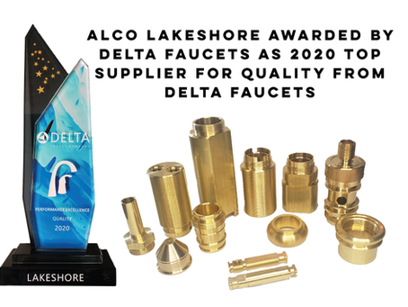 Alco Lakeshore Awarded for Quality Excellence as Top Supplier for 2020 from Delta Faucets