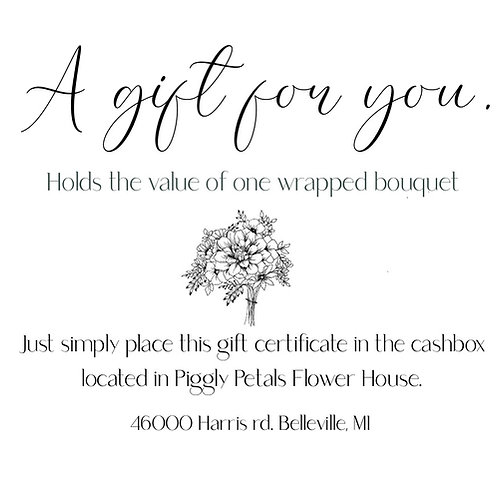Gift Certificate for One Bouquet