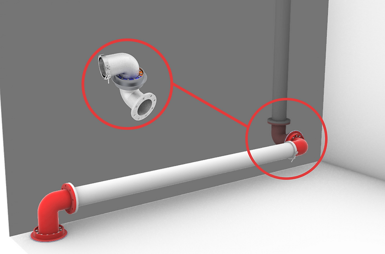 naval pipe exhaust marine fitting narrow space