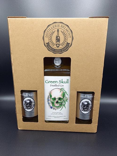 BOX Green Skull Gin 500 ml & Skull Tonic Water 5x330ml