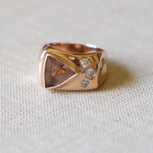 Asymmetrical Morganite Ring (Size 9)
