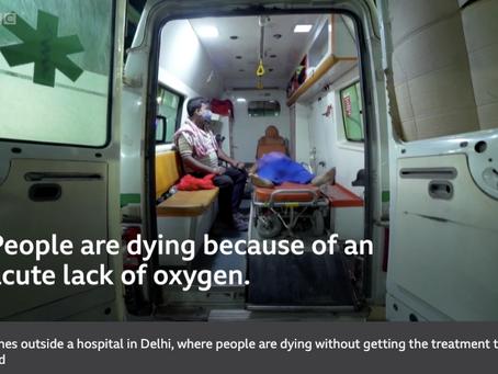 英語の記事を毎週読むのが英語上達に役立つ  インドは第二波に襲われ酸素の不足が深刻です