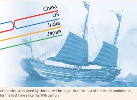 2020年はアジアが19世紀以降初めてアジア以外の全ての経済の合計を上回る転換点になる フィナンシャルタイムズ