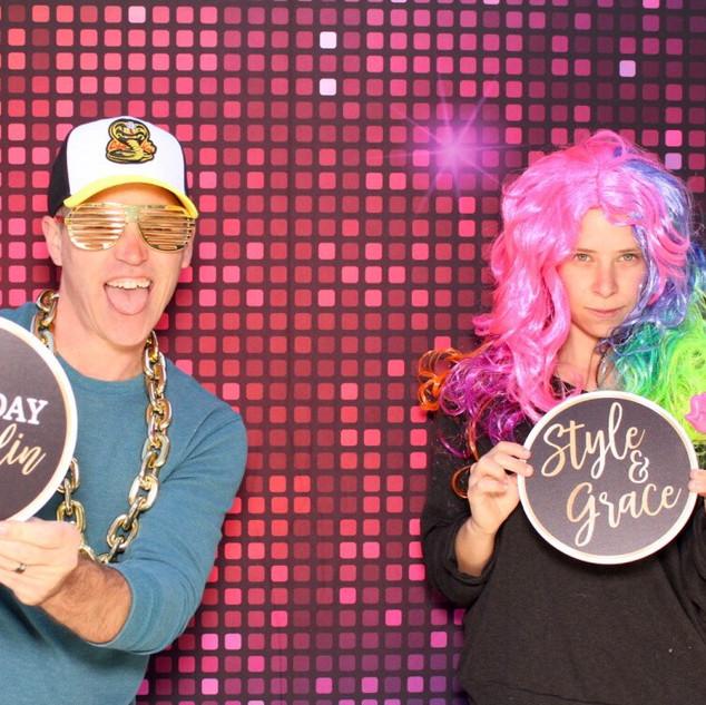 Disco ball photo booth backdrop
