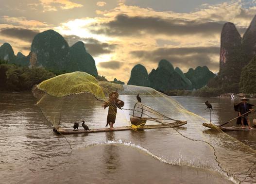 Net Fishing at Xingping, China