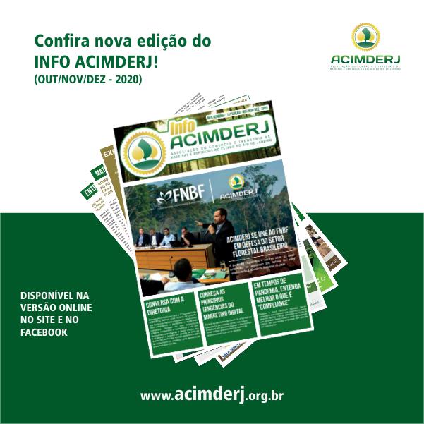Figura de exemplares empilhados do INFO ACIMDERJ, com chamada para o leitor conferir a Edição numero 11 do trimestre  de outubro a dezembro de 2020.