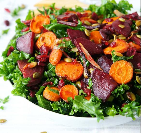 Kale Salad: pickled beets, roasted carrot, Red Onion, Kombucha Vinaigrette
