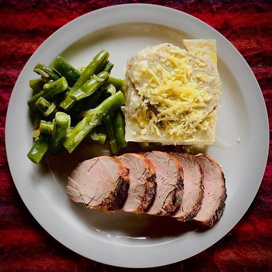 Grilled Pork Tenderloin OR Grilled Vegetables, Scalloped Potatoes & Green Beans